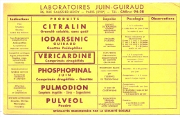 Buvard Pharmacie -  Laboratoires JUIN GUIRAUD  - Gamme Complete - Chemist's