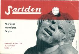 Buvard Pharmacie - SARIDON  Migraines Nevralgies Grippe Laboratoire Produits Roche - Chemist's