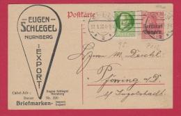 BAYERN  //  POSTKARTE    // DE NURNBERG  //  POUR INGOLSTADT   // 27/01/1920 - Stamped Stationery