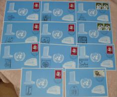 UNO Genf   Aus Jahr 1984   Blaue Karten Mit Verschiedene Stempel #cover2192 - Ohne Zuordnung