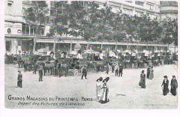 PARIS . Grands Magasins Du Printemps .  Départ Des Voitures De Livraison . - Publicidad