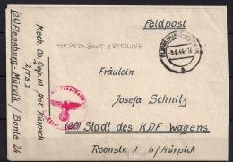 ALEMANIA 1944, WWII, CORREO MILITAR, RARA MARCA DE SUBMARINO TORPEDERO, FIELD POST, SUBMARINE TORPEDO BOAT - Cartas