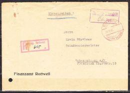 Einschreiben Reco, DB- + Rahmenstempel Gebuehr Bezahlt, Hds 84 Rpf, Rottweil Nach Schwenningen, AK-Stempel 1948 (40775) - Zone Française
