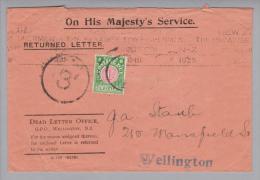 Ozeanien Neuseeland 1925- Porto 1D. Auf Brief Wellington - 1907-1947 Dominion