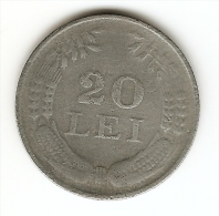 20 LEI - 1943 - REGATUL  ROMANIEI; ROMANIA--SERRATED EDGE - Romania