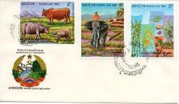LAOS. N°514-6 Sur Enveloppe 1er Jour (FDC) De 1983. Indépendance/Agriculture. - Agricoltura