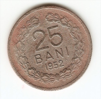 25 BANI - 1952 -REPUBLICA POPULARA ROMANA--SERRATED  EDGE - Romania