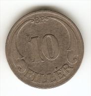 10 FILLER 1927 HUNGARY -- FLAT  EDGE - Hungary