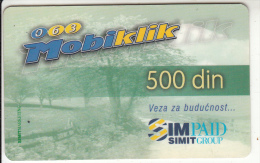 SERBIA - Simpaid Prepaid Card 500 Din, Exp.date 31/12/01, Used - Joegoslavië