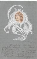 Tête De Femme Dans Une Fleur Brodée Trés Belle Cpa Gauffrée Art Nouveau Circulée En 1903 Bon état Voir Scans - Femmes
