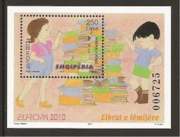 "ALBANIA -  EUROPE 2010 – ANNUAL SUBJECT ""CHILDRENS BOOKS"" - SOUVENIR SHEET -PERFORATED - 2010"
