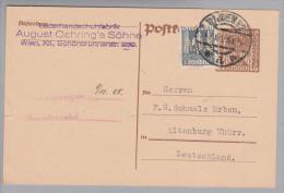"""Österreich 1925-10-17 Perfin """"A.Ö.S."""" Auf Ganzsache August Oehring'sSöhne Nach Altenburg De - 1918-1945 1. Republik"""