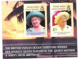 British Indian Ocean Territority BIOT 2000 Queen Mother 100th Birthday S/S MNH - Britisches Territorium Im Indischen Ozean