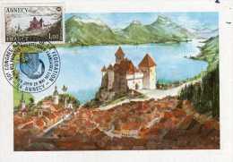 France: 1977 Très Belle Carte Maximum Annecy Le CHâteau Et Le Lac 5ème Congrès National Des Société Philatéliques - 1970-79