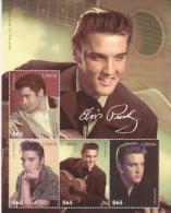 LIBERIA, Elvis Presley, Chanson, Musique, Cinema, Feuillet 4 Valeurs **,  2009 - Elvis Presley