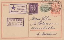DR Ganzsache Dresden 30.5.22 Mit Stempel Esperanto-Vereinigung Deutscher Lehrer - Esperanto