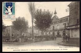 CPA ANCIENNE- FRANCE- ROUJAN (34)- PLACE DE L'HOTEL DE VILLE ET LA POSTE- TRES BELLE ANIMATION GROS PLAN- VIGNETTE - Other Municipalities