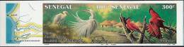 SENEGAL 1987 BIRDS TRIPTYCH SC# 746A IMPERF RARE VF MNH MAPS (D0317) - Senegal (1960-...)