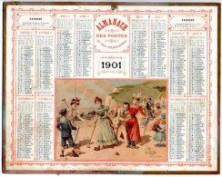 """Rare & Splendide Calendrier Almanach Des Postes Et Télégraphes 1901 Du Calvados Oberthür / Chromo """"Croquet Sur La Plage"""" - Big : 1901-20"""