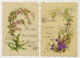 2 Cartes Religieuses Celluloid Peinte Main Vierge Marie,  Elisabeth Hand Painted - Cartes Postales