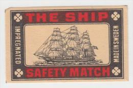 'The Ship'  Safety Match - Sweden - Matchboxcover - Luciferdozen - Etiketten
