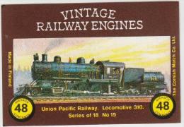 VINTAGE RAILWAY ENGINES: Union Pacific, Locomotive 310 - Matchboxcover - Luciferdozen - Etiketten
