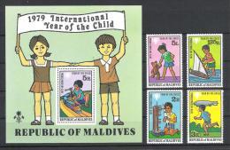 Malediven 1979 Mi# 822-26 Bl. 57 ** MNH Jahr Des Kindes Year Of Child - Malediven (1965-...)