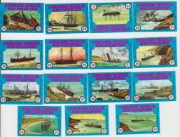 15x ´CORNISH WRECK´ - Boat/Ship - England - 15 Matchboxcovers - Luciferdozen - Etiketten