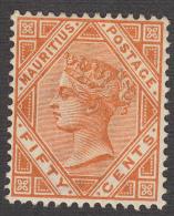 Mauritius 1883  Q.Victoria  50c Orange  SG111  MH - Mauritius (...-1967)
