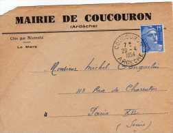 France: 1954 Jolie Lettre De Mairie De Coucouron Ardèche Avec Marianne De Gandon 15f - France