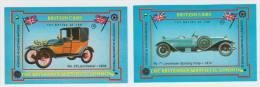 2x ´British Cars´ : LANCHESTER  - Auto/Car/Voiture - England - 2 Matchboxcovers ´The Britannia Match Co., London´ - Luciferdozen - Etiketten
