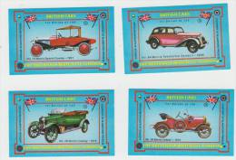 4x ´British Cars´ : MORRIS  - Auto/Car/Voiture - England - 4 Matchboxcovers ´The Britannia Match Co., London´ - Luciferdozen - Etiketten