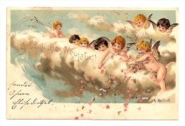 Künstler Litho AK  MAILICK NEUJAHR Engel Auf Wolken Streuen Rosen, Blumen  1901 - Nieuwjaar