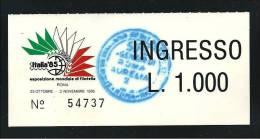 ITALIA 1985 - ROMA ITALIA ´85  - Mondiale Di Filatelia - BIGLIETTO D´ INGRESSO Fiera - Usato - Lato B - Biglietti D'ingresso