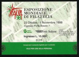 ITALIA 1998 - MILANOFIL - BIGLIETTO D´ INGRESSO Fiera - Usato - Lotto N. 62 - Biglietti D'ingresso