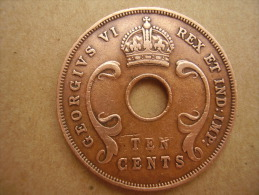 BRITISH EAST AFRICA USED TEN CENT COIN BRONZE Of 1942 - George VI. - British Colony