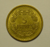 """France 5 Francs """""""" LAVRILIER """""""" 1945 Cupro - Aluminium # 7 Qualité - HIGH  GRADE - Frankrijk"""