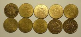 """Monaco SET Complet 10 Francs 1974 - 1989 """""""" Grace De Monaco """""""" Prince Pierre """""""" - 1960-2001 Franchi Nuovi"""