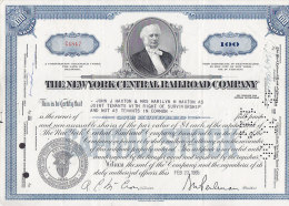 United States THE NEW YORK CENTRAL RAILROAD COMPANY 100 Shares Certificate 1965 Tram Tramways (2 Scans) - Chemin De Fer & Tramway