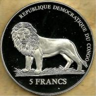 CONGO 5 FRANCS LION ANIMAL FRONT 500YEARS OF SWISS GUARD  COLOURED BACK 2006 PROOFLIKE READ DESCRIPTION CAREFULLY !!! - Congo (República Democrática 1998)