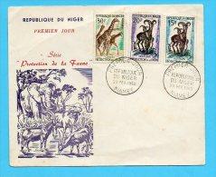 ENVELOPPE FDC PROTECTION DE LA FAUNE 1960 GIRAFES MOUFLONS - Niger (1960-...)