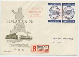 ´FINLAND 1956 Stamp Centenary Tete-beche Pair On FDC,  Michel 457 - Finland