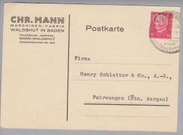 """DR 1931-11-14 Waldshut Perfin """"CM"""" #1-CM-9 Auf Postkarte Chr.Mann Maschinenfabrik - Deutschland"""
