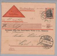 DR 1919-11-21 Hannover Perfin W&V #1-W&V-1 Auf Nachnahme Germania Ofen-u.Herdfab.Winter&Co Nach Werl