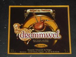 ETIQUETTE BIERE DREMMWEL - BRASSERIE ARTISANALE DU TREGOR - BRETAGNE - BINIOU INSTRUMENT MUSIQUE - - Bière