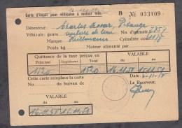 Carte D'Impot Pour Véhicules à Moteur - PETANGE - Automobile De Marque Heillmann - 1950 - Pétange