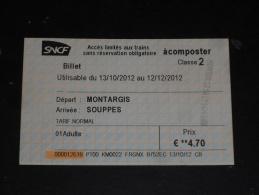 TICKET TRAIN TER SNCF - MONTARGIS SOUPPES - LOIRET - SEINE ET MARNE - - Chemins De Fer