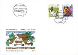 SUISSE. N°1364-5 Sur Enveloppe 1er Jour (FDC) De 1991. Lapin/Effraie. - Hiboux & Chouettes