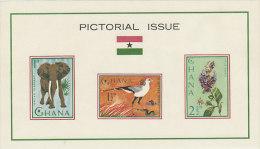 Ghana-1964 Pictorial Issue Souvenir Sheet Of 3 Mint Hinged - Ghana (1957-...)