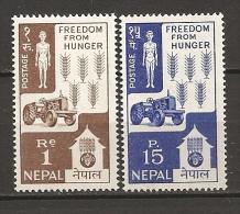 Nepal 1963 N° 153 + 155 Iso ** Campagne Contre La Faim, Famine, Agriculture, FAO, Blé, Céréales, Tracteur, Squelette - Nepal
